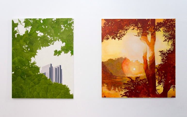 "Exhibition view of ""Nature"" at Loft 8 Gallery (L: Fabian Patzak, R: Frank Webster)"