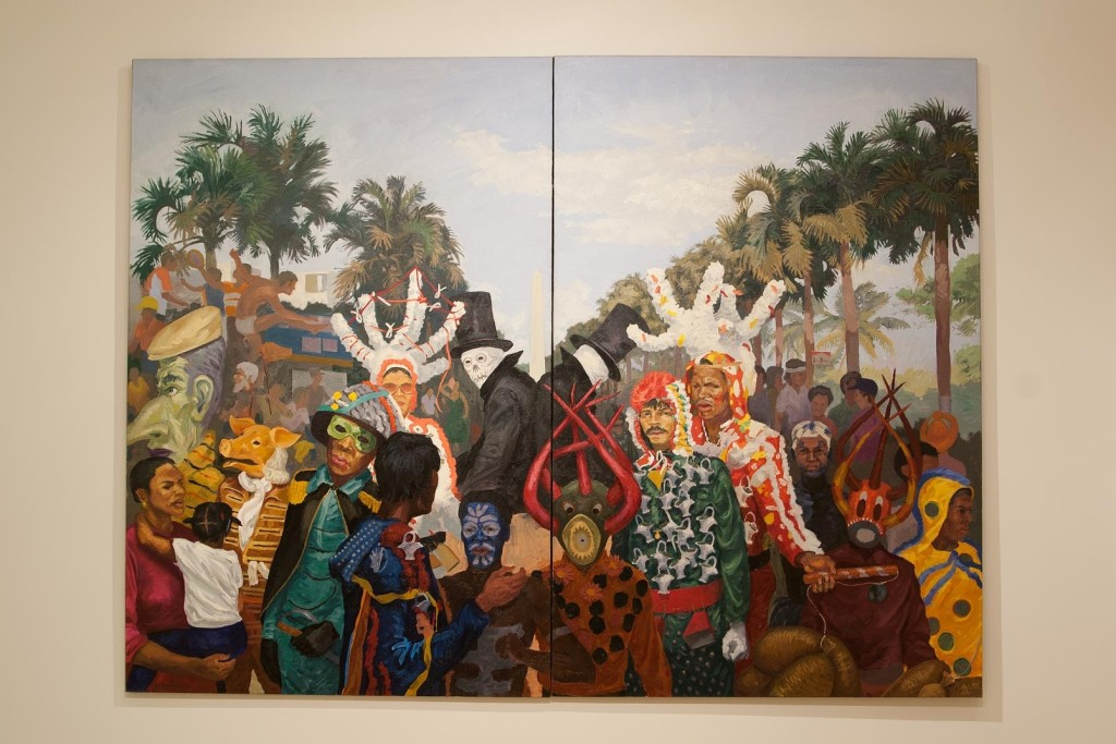 "Manuel Macarulla's painting, ""Goat Song #5: Tumult on George Washington Avenue."""