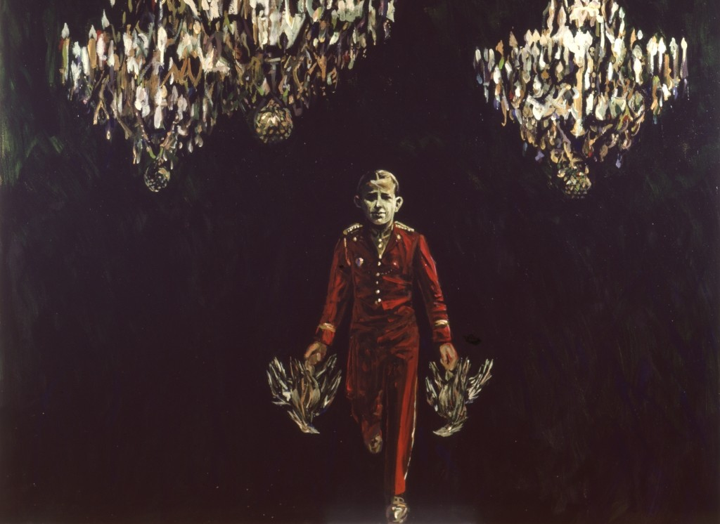 "Arnold Mesches ""Three Chandeliers"" (1987, acrylic on canvas, 80"" x 87"")"
